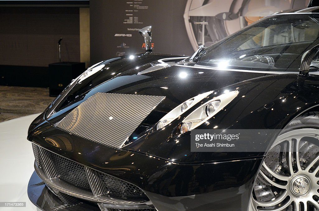 Italian car maker Pagani's supercar 'Hyuayra' (front details) is displayed at its reveiling on June 24, 2013 in Tokyo, Japan. Pagani, founded by former Lamborghini designer Horacio Pagani in 1991, have produced order-made supercars.