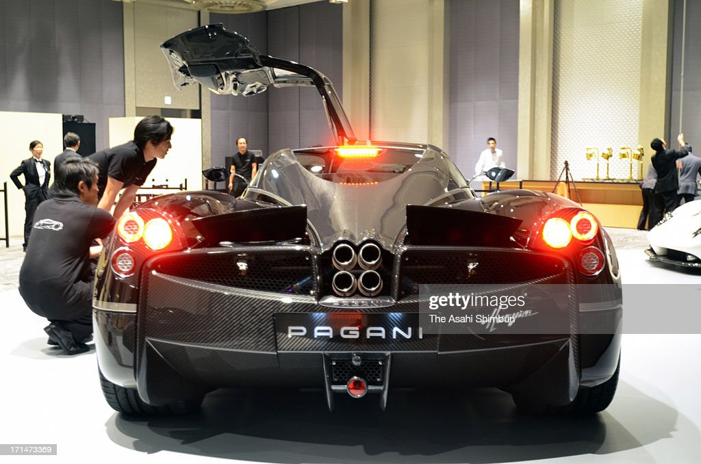 Italian car maker Pagani's supercar 'Hyuayra' (rear details) is displayed at its reveiling on June 24, 2013 in Tokyo, Japan. Pagani, founded by former Lamborghini designer Horacio Pagani in 1991, have produced order-made supercars.