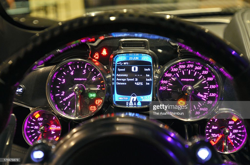 Italian car maker Pagani's supercar 'Hyuayra' (speed meter details) is displayed at its reveiling on June 24, 2013 in Tokyo, Japan. Pagani, founded by former Lamborghini designer Horacio Pagani in 1991, have produced order-made supercars.