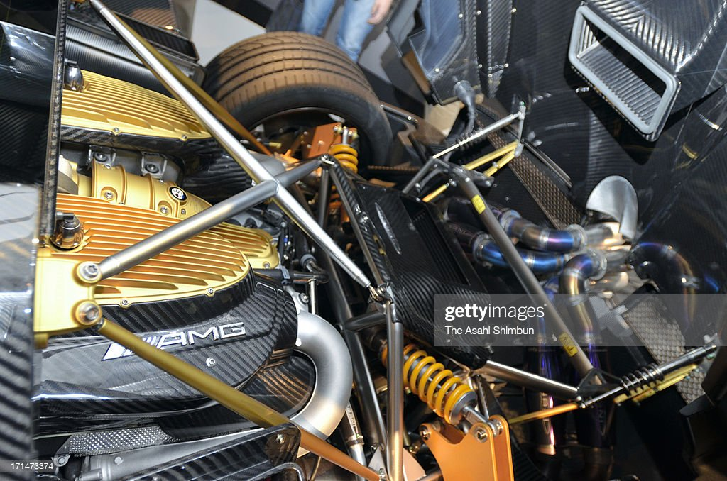 Italian car maker Pagani's supercar 'Hyuayra' (engine details) is displayed at its reveiling on June 24, 2013 in Tokyo, Japan. Pagani, founded by former Lamborghini designer Horacio Pagani in 1991, have produced order-made supercars.