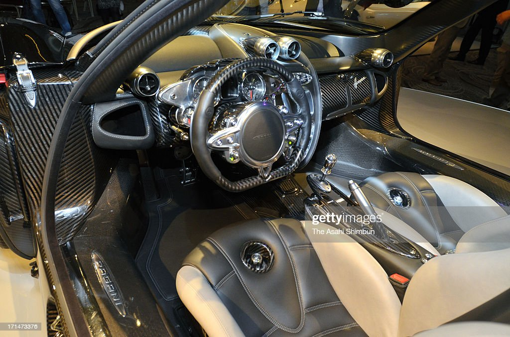 Italian car maker Pagani's supercar 'Hyuayra' (driving seat details) is displayed at its reveiling on June 24, 2013 in Tokyo, Japan. Pagani, founded by former Lamborghini designer Horacio Pagani in 1991, have produced order-made supercars.