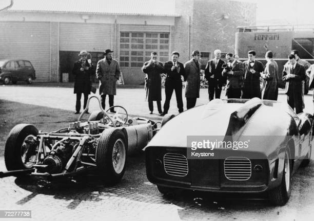Italian car manufacturer Enzo Ferrari displays his new racing cars to the press at the Maranello factory in Italy 17th February 1961