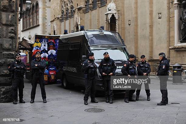 Italian Carabinieri are seen during the celebration of the role of Florence at the time was the capital near Palazzo Vecchio on November 18 2015 in...
