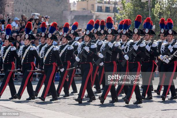 Italian carabinieri attend the military parade during the celebrations of the Italian Republic Day on June 2 2017 in Rome Italy