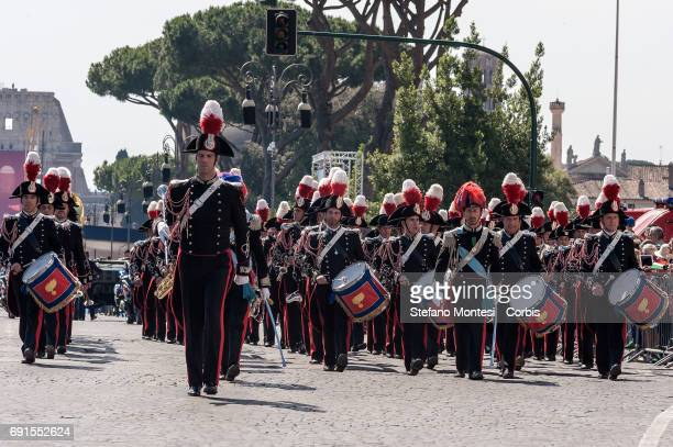 Italian carabinieri band members parade attend the military parade during the celebrations of the Italian Republic Day on June 2 2017 in Rome Italy