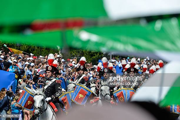 Italian carabinieri band members parade on horses in central Rome on June 2 during the military parade as part of celebrations marking Italy's...