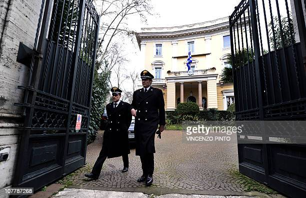 Italian Carabinieri leave the Greek embassy on December 27 2010 in Rome after a parcel bomb was found today just days after two similar packages went...