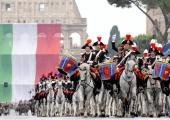 Italian carabinieri march on Via dei Fori Imperiali avenue in Rome during a military parade marking the country's Republic Day 02 June 2007 Italian...