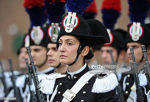 Italian Carabinieri military police parade in front of the Unknown Soldier monument during celebration to mark the anniversary of the Italian army in...