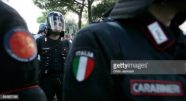 Italian Carabinieri policemen keep order during a demonstration against the 62nd Venice Film Festival on September 3 2005 in Venice Italy They are...