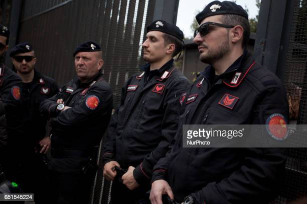 Italian Carabinieri stand guard in front of the convention center occupated Mostra D'Oltremare of Naples Italy on 10 March 2017 The occupation it was...