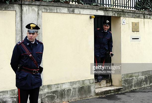 Italian Carabinieri stand outside the Greek embassy on December 27 2010 in Rome after a parcel bomb was found today just days after two similar...