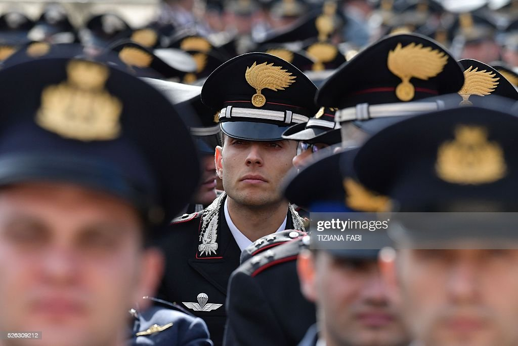 Italian carabinieri wait for the arrival of Pope Francis before an audience as part of the Jubilee Year of Mercy on April 30, 2016 at St Peter's square in Vatican.