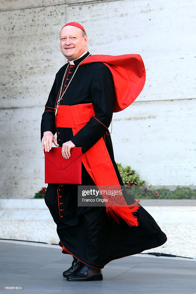 Italian cardinal <a gi-track='captionPersonalityLinkClicked' href=/galleries/search?phrase=Gianfranco+Ravasi&family=editorial&specificpeople=6968577 ng-click='$event.stopPropagation()'>Gianfranco Ravasi</a> arrives at the Paul VI hall for the opening of the Cardinals' Congregations on March 4, 2013 in Vatican City, Vatican.The congregations of cardinals will continue until all cardinal electors have arrived in Rome, whereupon the College will decide on the start-date of the Conclave to elect a new Pope.