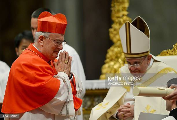 Italian cardinal Gualtiero Bassetti leaves after being appointed cardinal by Pope Francis during a consistory in the Saint Peter's basilica at the...
