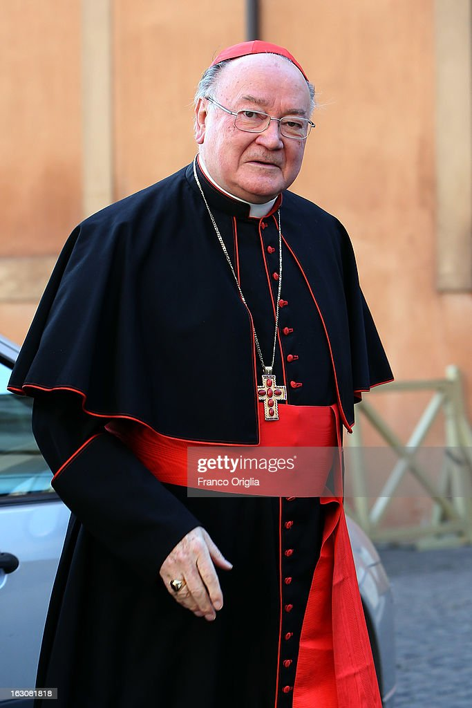 Italian cardinal Renato Raffaele Martino arrives at the Paul VI hall for the opening of the Cardinals' Congregations on March 4, 2013 in Vatican City, Vatican.The congregations of cardinals will continue until all cardinal electors have arrived in Rome, whereupon the College will decide on the start-date of the Conclave to elect a new Pope.