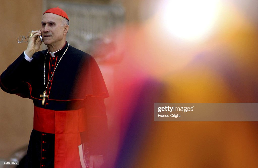 Italian Cardinal Tarcisio Bertone leaves the meeting to prepare the next conclave at the Sinodo's Hall on April 15 2005 in Vatican City Roman...