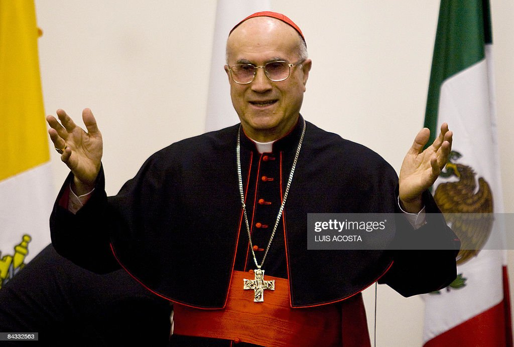 Italian Cardinal Tarcisio Bertone speaks durina a press conference at the 6th World Meeting on Families in Mexico City on January 16 2009AFP...