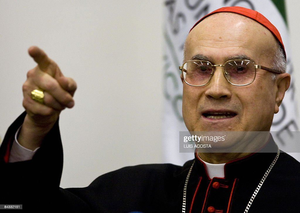Italian Cardinal Tarcisio Bertone speaks during a press conference atthe 6th World Meeting on Families in Mexico City on January 16 2009AFP...