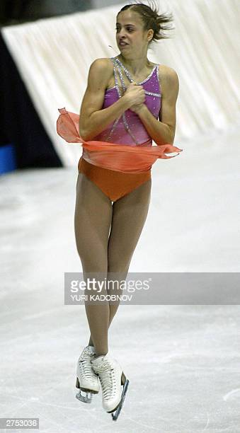 Italian Carolina Costner performs her free program at the figure skating ISU Grand Prix Cup of Russia in Moscow 22 November 2003 She won the second...