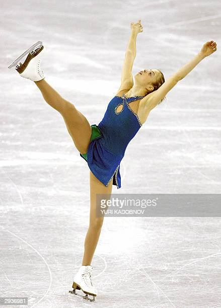 Italian Carolina Kostner performs her ladies short program at the 2004 European figure skating championships in Budapest 06 February 2004 AFP PHOTO...
