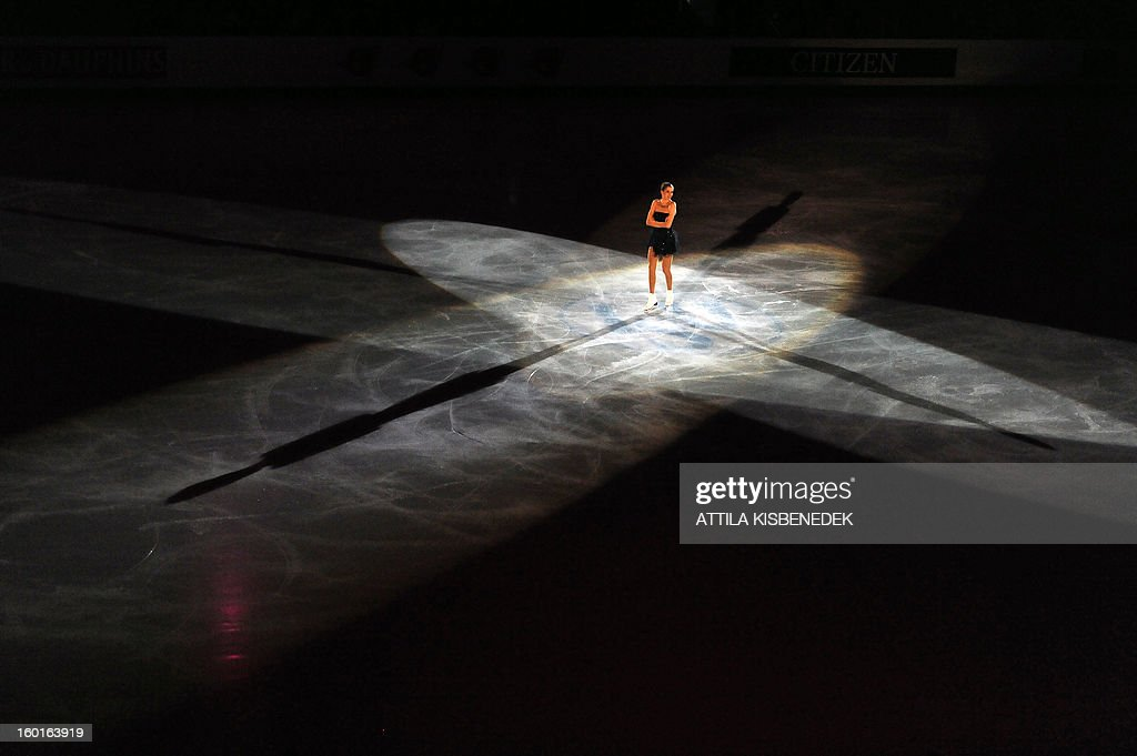 Italian Carolina Kostner performs on ice at the Dom Sportova sports hall in Zagreb on January 27, 2013 during the gala of the ISU European Figure Skating Championships.
