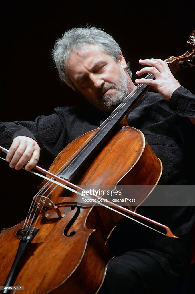 Italian cellist Mario Brunello performs with dutch violinist Isabelle Faust for Bologna Festival at Teatro Manzoni on March 31, 2014 in Bologna, Italy.