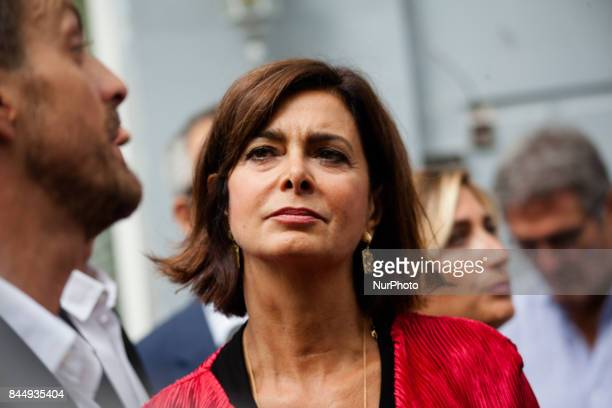 Italian Chamber of Deputies' President Laura Boldrini attends The G7 in Naples Italy on September 9 2017 for a tour Historic central of Naples
