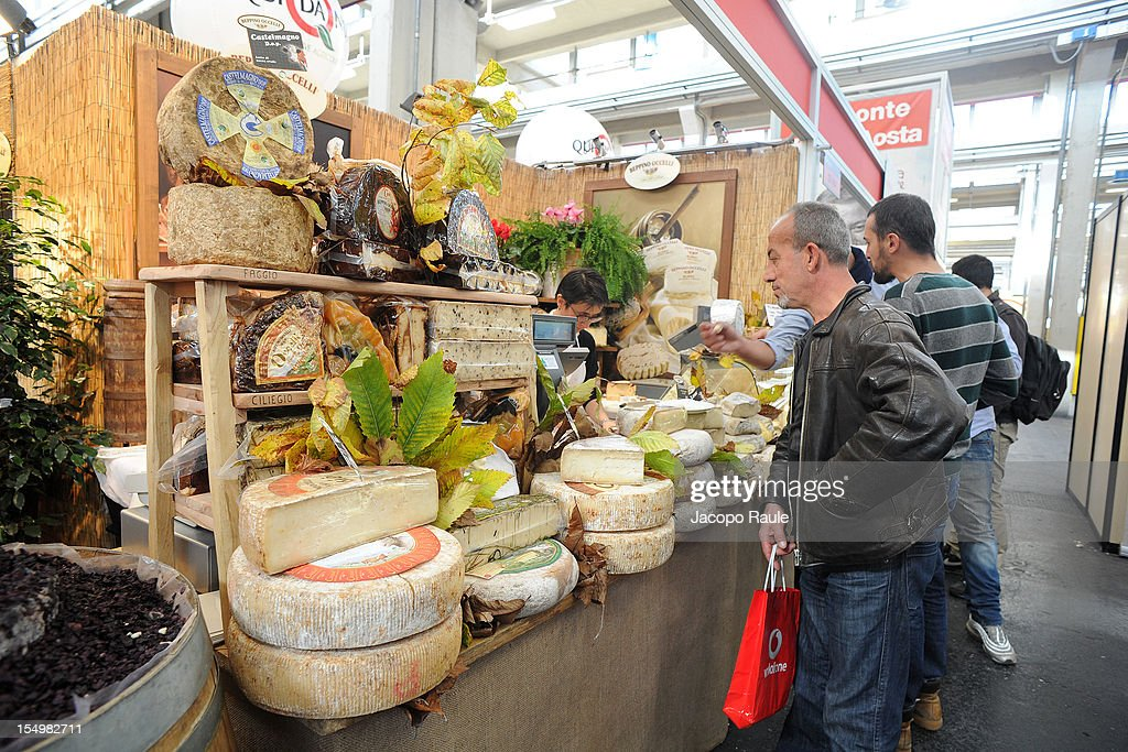 Italian cheeses are displayed on a stand at the Slow Food's Salone del Gusto and Terra Madre 2012 on October 29, 2012 in Turin, Italy.