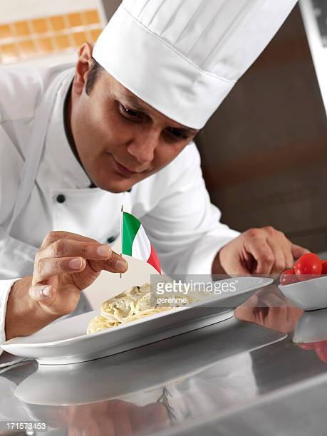Italian Chef Completing Pasta