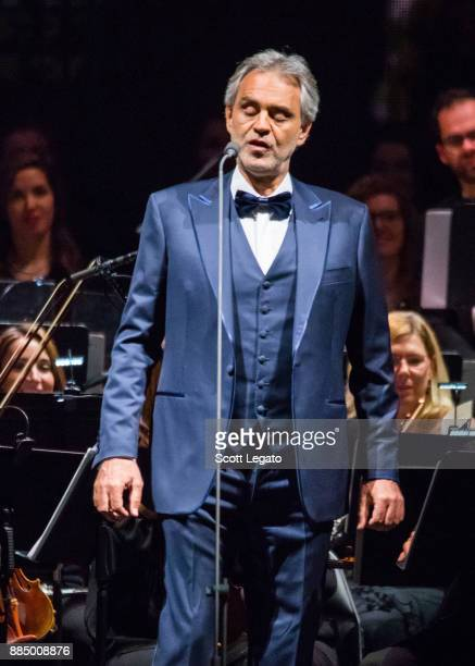 Italian classical crossover tenor recording artist and singersongwriter Andrea Bocelli performs with the Detroit Symphony Orchestra at Little Caesars...