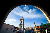 Italian clock tower Bordj as-Sa's (clock tower) in the Medina in Tripoli / Libya