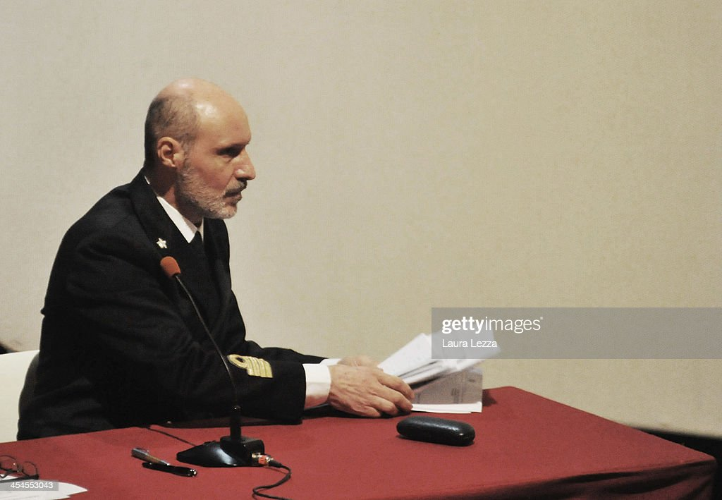 Italian Coastguard Captain Gregorio De Falco speaks during the hearing in the trial of the Costa Concordia on December 9, 2013 in Grosseto, Italy. Coastguard Captain Gregorio De Falco and Captain Francesco Schettino met for the first time in court today. De Falco, famous for ordering Schettino back onboard after he allegedly abandoned the ship with hundreds of passengers still onboard, took to the stand as a witness. The Costa Concordia capsized on January 13, 2012 leaving 32 people dead.