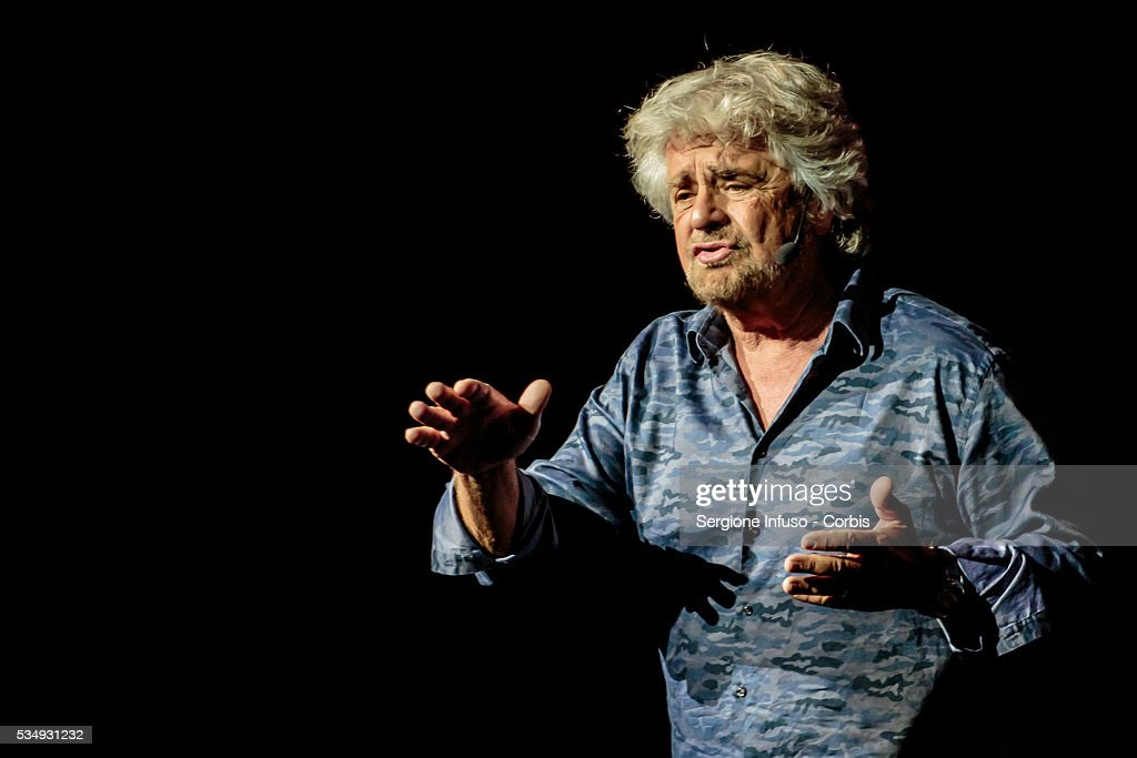 Italian comedian, actor, blogger and political activist <a gi-track='captionPersonalityLinkClicked' href=/galleries/search?phrase=Beppe+Grillo&family=editorial&specificpeople=4246058 ng-click='$event.stopPropagation()'>Beppe Grillo</a> performs in 'Grillo Vs Grillo' at Teatro degli Arcimboldi on May 26, 2016 in Milan, Italy. Involved in politics since 2009 Grillo is the founder of the Italian Five Star Movement political party.