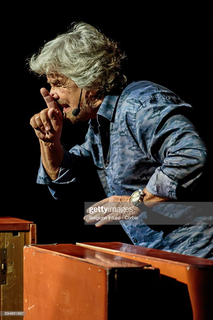 Italian comedian, actor, blogger and political activist Beppe Grillo performs in 'Grillo Vs Grillo' at Teatro degli Arcimboldi on May 26, 2016 in Milan, Italy. Involved in politics since 2009 Grillo is the founder of the Italian Five Star Movement political party.