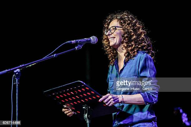 Italian comedian actress and TV presenter Teresa Mannino is a guest of the show 'Sottosopra' Roberto Saviano Meets The Audience on November 28 2016...