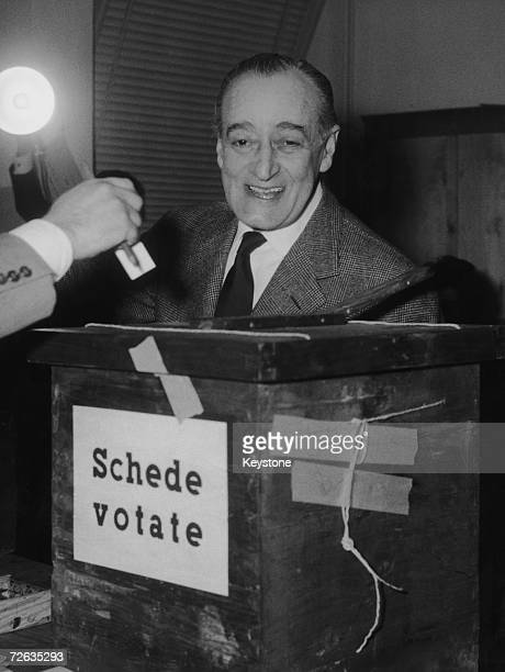 Italian comic actor Toto at a polling booth on election day Rome 10th June 1962