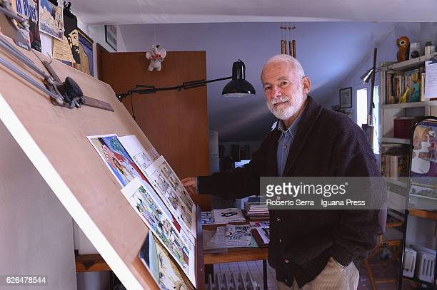 Italian comic artist Vittorio Giardino poses in his studio on November 29 2016 in Bologna Italy