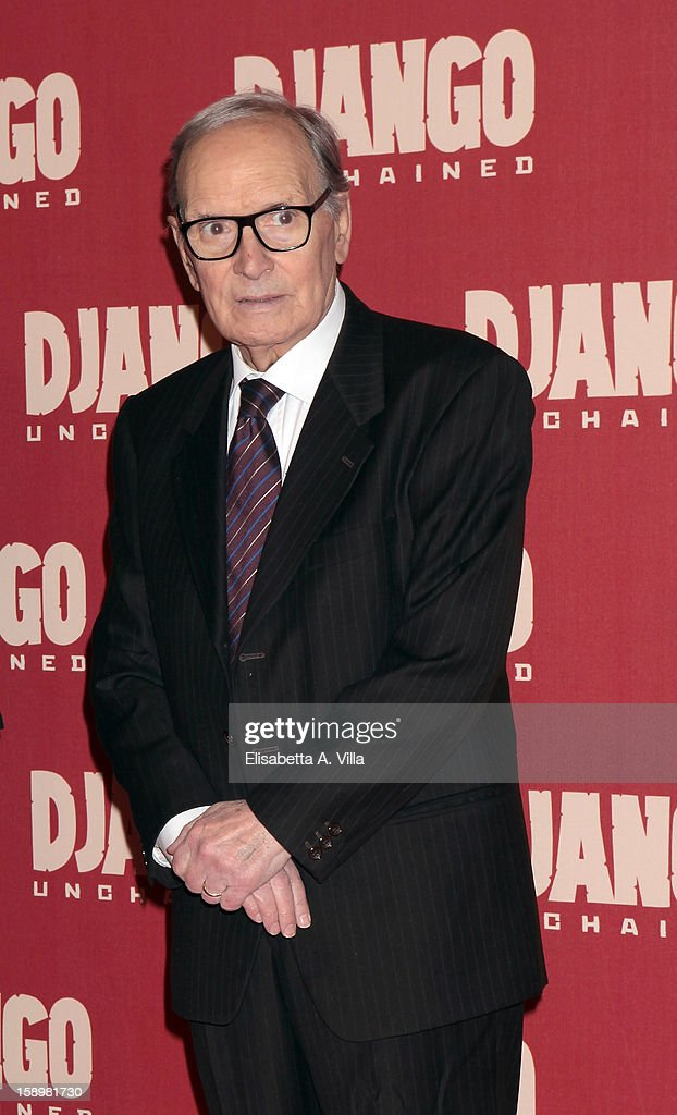 Italian composer <a gi-track='captionPersonalityLinkClicked' href=/galleries/search?phrase=Ennio+Morricone&family=editorial&specificpeople=677347 ng-click='$event.stopPropagation()'>Ennio Morricone</a> attends 'Django Unchained' premiere at Cinema Adriano on January 4, 2013 in Rome, Italy.