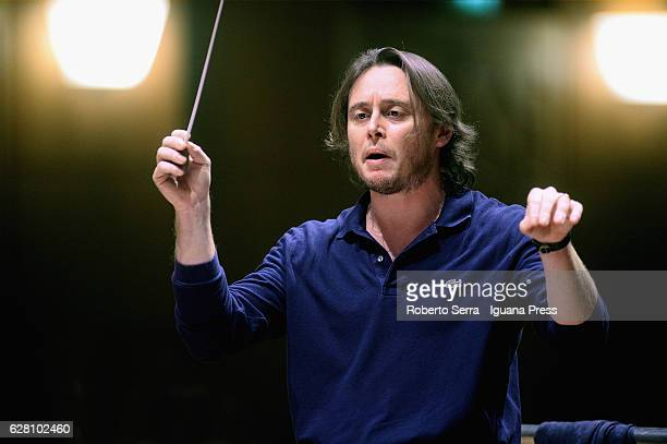 Italian conductor Michele Mariotti conduces the Municipal Teather of Bologna Philarmonic Orchestra with the peruvian tenor Juan Diego Florez at...