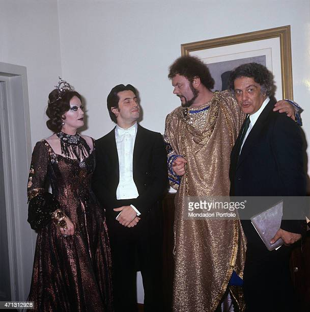 Italian conductor Riccardo Muti posing with British soprano Gwyneth Jones and Italian bass and baritone Mario Petri performers of the opera Macbeth...