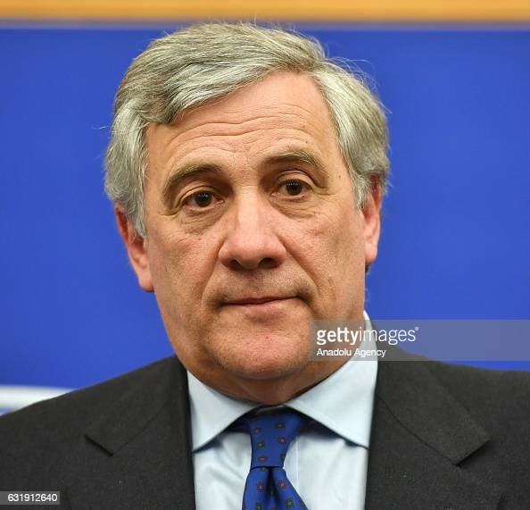 Italian conservative Antonio Tajani holds a press conference after being elected as new president of European Parliament in Strasbourg France on...