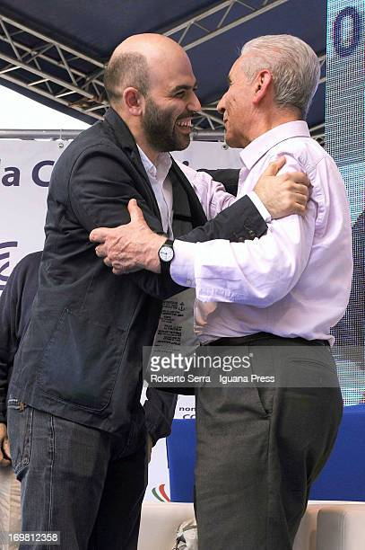 Italian constitutional lawyer Stefano Rodota and author Roberto Saviano attends the 'Non è Cosa Vostra' political event at Santo Stefano square on...