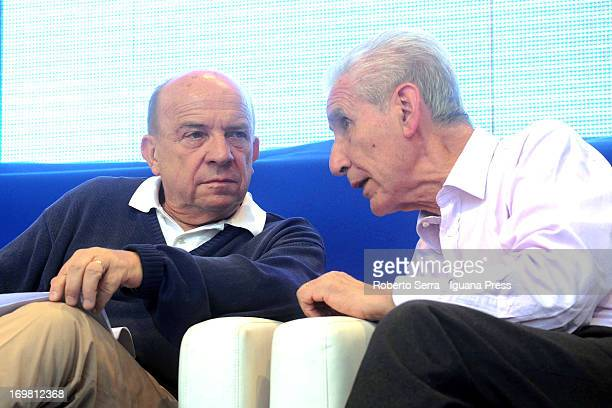 Italian constitutional lawyers Gustavo Zagrebelsky and Stefano Rodota attends the 'Non è Cosa Vostra' political event at Santo Stefano square on June...