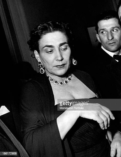 Italian countess Wally Toscanini Castelbarco famous Italian conductor Arturo Toscanini's daughter smartly dressed and adorned with jewels The '50s