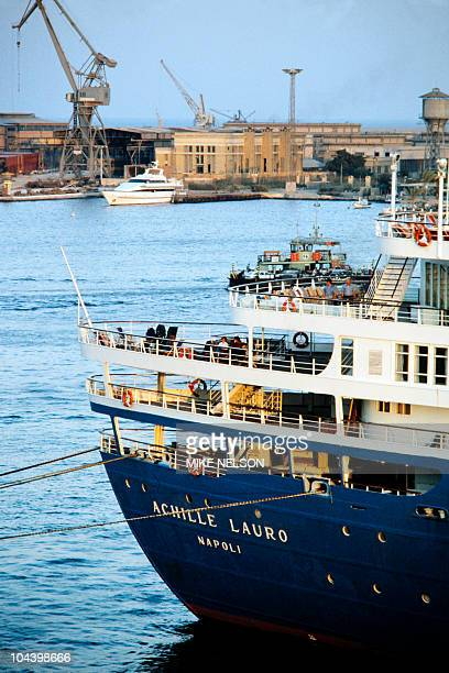 Italian cruise ship Achille Lauro is docked on October 10 1985 in Port Said harbor after Egyptian authorities stopped it from sailing to the Israeli...