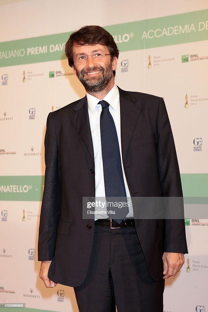 Italian Culture Minister <a gi-track='captionPersonalityLinkClicked' href=/galleries/search?phrase=Dario+Franceschini&family=editorial&specificpeople=4851356 ng-click='$event.stopPropagation()'>Dario Franceschini</a> attends the David Di Donatello Awards Ceremony at the Dear Studios on June 10, 2014 in Rome, Italy.
