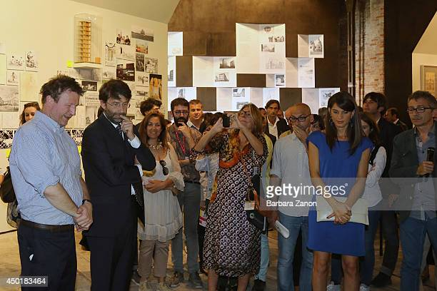 Italian Culture Minister Dario Franceschini with the curator Cino Zucchi attend the official opening of Italian Pavilion at Corderie dell'Arsenale...