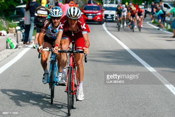 Italian cyclist Domenico Pozzovivo of AG2R La Mondiale Team and Russian cyclist Ilnur Zakarin of Katusha Alpecin team ride in a breakaway in the...