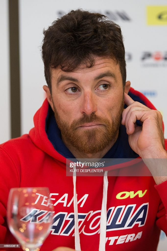 Italian cyclist <a gi-track='captionPersonalityLinkClicked' href=/galleries/search?phrase=Luca+Paolini&family=editorial&specificpeople=774515 ng-click='$event.stopPropagation()'>Luca Paolini</a> of Team Katusha attends a press conference of Katusha cycling team ahead of Sunday's Tour des Flandres (Tour of Flanders) cycling race, on April 3, 2015, in Kortrijk.